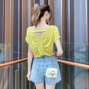 YF34876# 心机设计感面膜T小众气质露背衫女新款上衣时尚潮流女装 服装批发女装直播货源