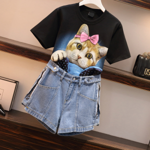 YF37235# 夏装新款胖妹妹显瘦洋气T恤遮肉心机牛仔短裤两件套装