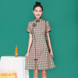 FS98261# 旗袍新款夏季年轻款少女改良格子连衣裙 服装批发女装直播货源