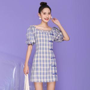 FS98262# 法式修身显瘦中国风短款改良旗袍 服装批发女装直播货源