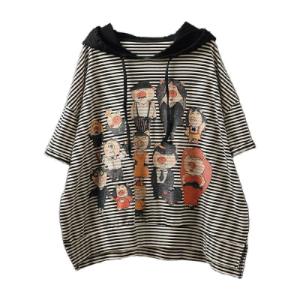 FS81987# 外贸大码女装连帽短袖衫印花条纹上衣休闲宽松大版女士T恤 服装批发女装货源