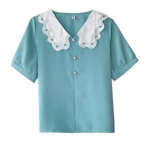 FS81937# 夏季雪纺衫女韩版时尚短袖小衫收腰洋气上衣气质娃娃衫潮 服装批发女装货源