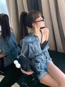 FS81956# 小雨姐姐 姐妹女团C位出道连体裤夏季薄牛仔连体裤女套装 服装批发女装货源
