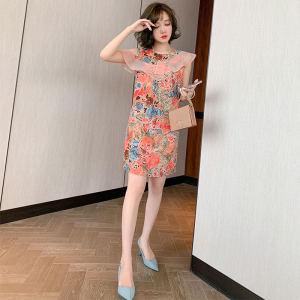 FS94433# 印花荷叶边拼接圆领露肩修身显瘦气质连衣裙女装2020夏新款 S-XXL60