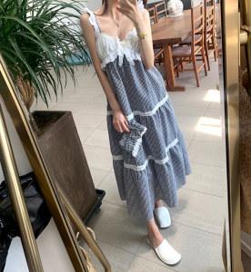 FS95346# 夏季甜美蝴蝶结蕾丝拼接吊带连衣裙女长裙