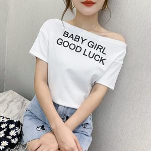 FS82016# 一字领上衣女韩版夏季宽松显瘦字母印花欧货ins露肩短袖T恤女 服装批发女装货源
