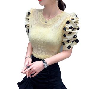 FS82020# 夏季新款设计感菱形图案拼接波点泡泡袖套头针织衫 服装批发女装货源
