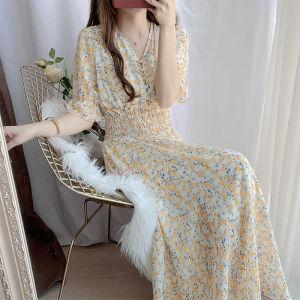 FS89188# 名媛碎花连衣裙女夏收腰显瘦气质仙女裙雪纺长裙超仙复古公主裙子