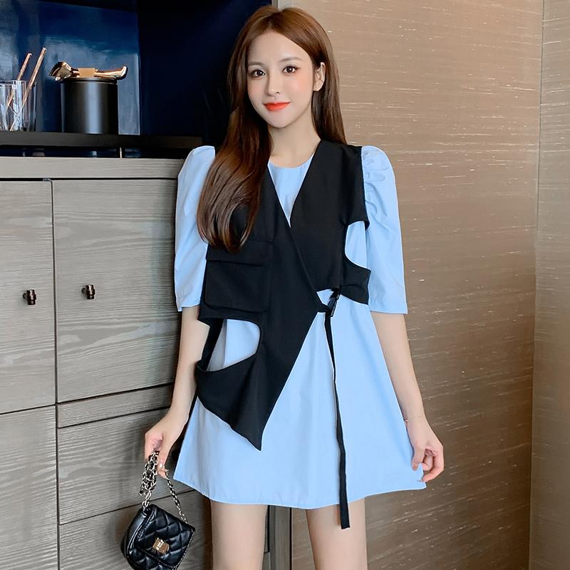 实拍~韩版不规则马甲背心+气质泡泡袖连衣裙两件套装2020新款夏季-唯美嘉服饰-