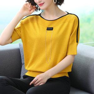 YF39618# 冰丝短袖t恤女篇幅年新款夏季宽松短款蝙蝠衫收身上衣