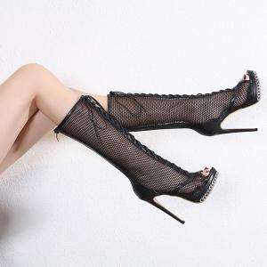 FS84677# 新款网靴13CM超高跟鱼嘴靴子女 34-42码 鞋子批发高跟鞋批发