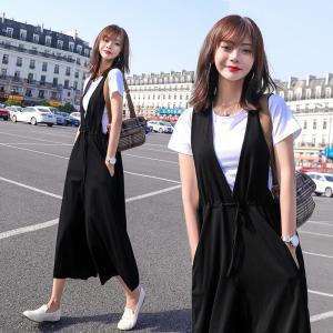 FS90020# 大码阔腿裤套装两件套洋气女薄韩版时尚收腰宽松连体背带裤