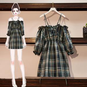YF11791# 胖mm一字肩格子连衣裙女新款夏季性感吊带裙收腰显瘦气质裙子 服装批发女装直播货源