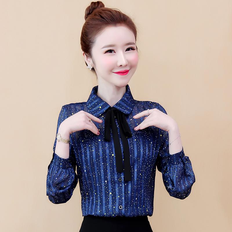 实拍现货很仙的雪纺衫衬衫女韩版洋气秋季小衫时尚宽松韩版衬衣潮-霓裳羽衣-