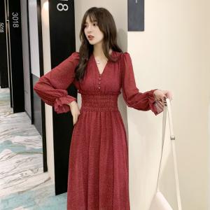 YF12871# 秋季春季新款红色雪纺连衣裙显瘦显高秋冬装女