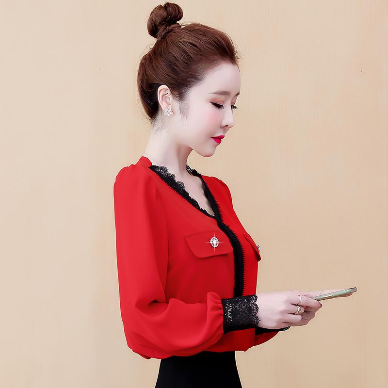实拍现货低领蕾丝打底衫红色小衫2020秋装洋气时尚本命年打底衫-霓裳羽衣-
