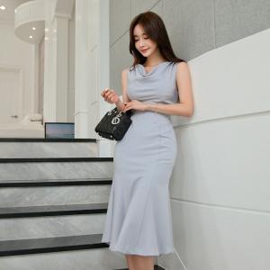 FS86874# 夏季新款韩版无袖拼接修身显瘦中长款鱼尾连衣裙 服装批发女装直播货源