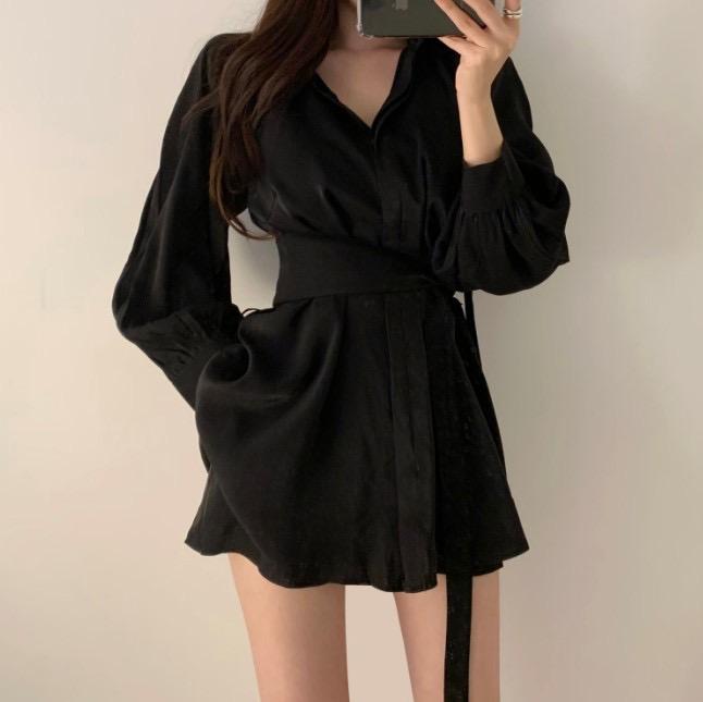 人气款女人味大牌范儿时髦款腰封系带衬衫配短裤两件套 套装女-ins韩国风-