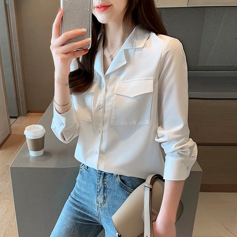 实拍~2020秋季新款韩版西装领插袋长袖雪纺衫白色衬衣女长袖-ONYOU欧林雅-