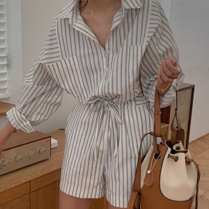 YF75057# 韩国chic显瘦抽绳系带条纹体闲工装长袖连体裤 服装批发女装直播货源