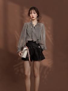 YF13141# 复古法式设计感小众气质飘带衬衣+高腰a字短裤设计感阔腿裤