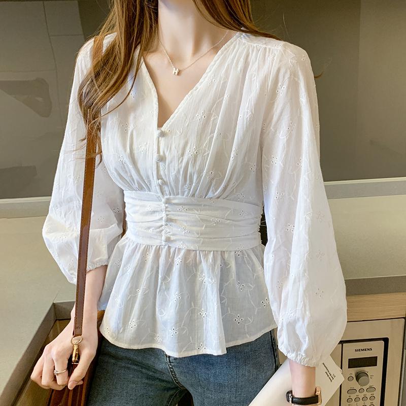 实拍 2020秋新款法式法式复古泡泡袖衬设计感收腰蕾丝衬衫女-粉黛尔-