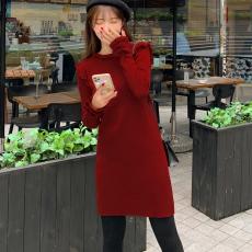 广州批发2020秋冬季新款小香风长袖针织打底裙纯色内搭荷叶边毛衣连衣裙子