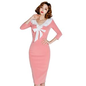 FS86875# 新款韩版气质显瘦修身荷叶领拼色连衣裙 服装批发女装直播货源