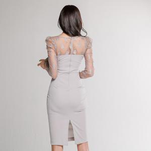 FS86876# 新款韩版修身蕾丝拼接连衣裙包臀裙 服装批发女装直播货源
