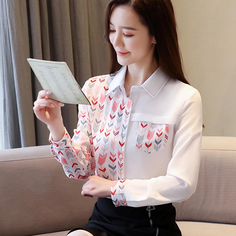 实拍2020秋季新款小众上衣新款洋气印花韩版长袖雪纺衬衫女时尚衬-韩妮尔-