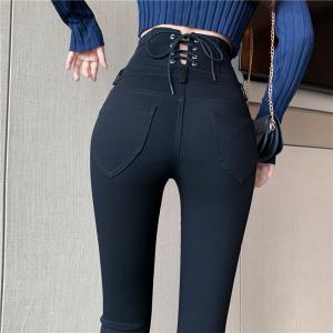 FS87987# 超高腰显瘦修腿排扣设计感后绑带百搭长腿MM铅笔裤 服装批发女装货源