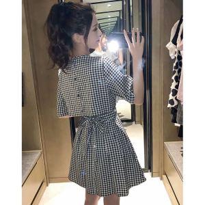 FS92242# 新款夏季女神范系带后背镂空露腰格子显瘦气质连衣裙
