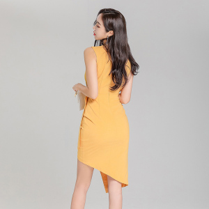 FS86877# 新款韩版V领时尚不规则连衣裙系带裙 服装批发女装直播货源