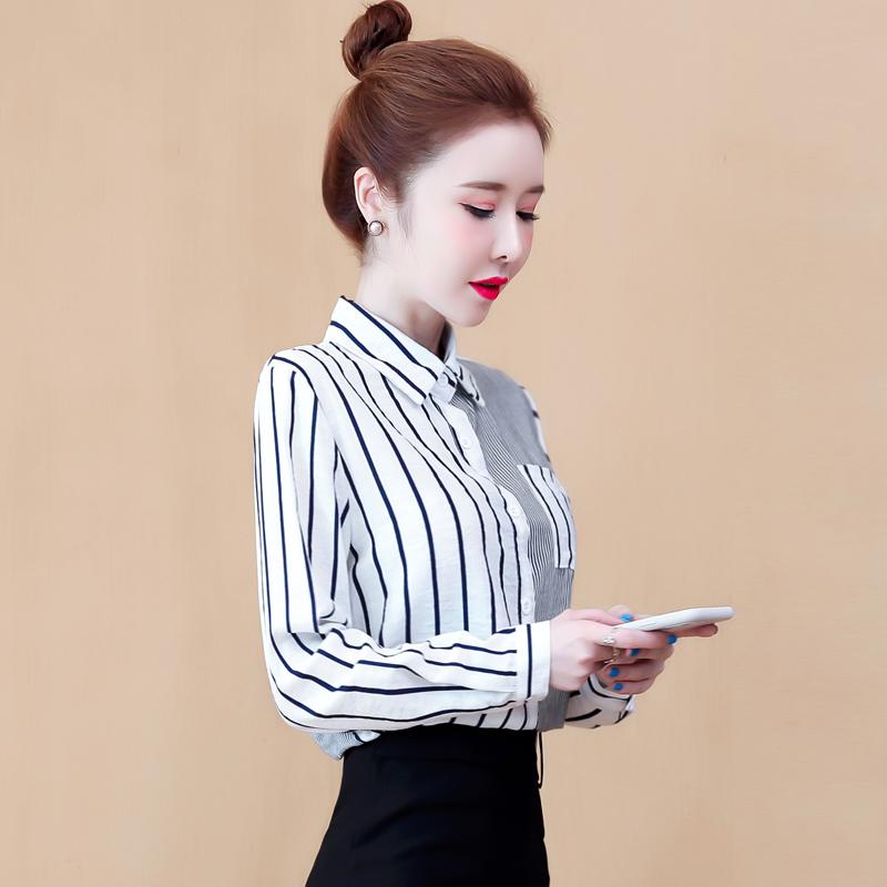 现货实拍拼接条纹长袖衬衫女设计感2020初秋新款韩版宽松衬衣上衣-棉爆爆-