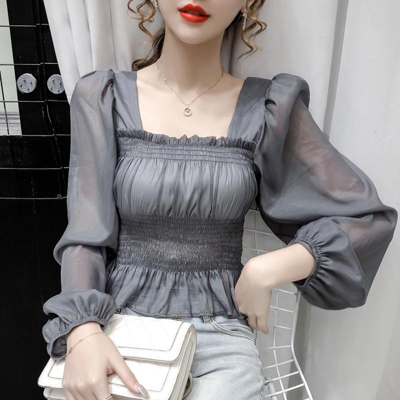 实拍2020新款超仙小清新修身显瘦方领短款泡泡长袖雪纺衫上衣女装-可可韩-