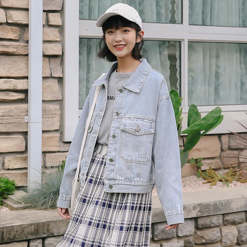 实拍2020小个子牛仔外套女宽松阔版韩国高品质东大门牛仔短外套-大姑娘牛仔-