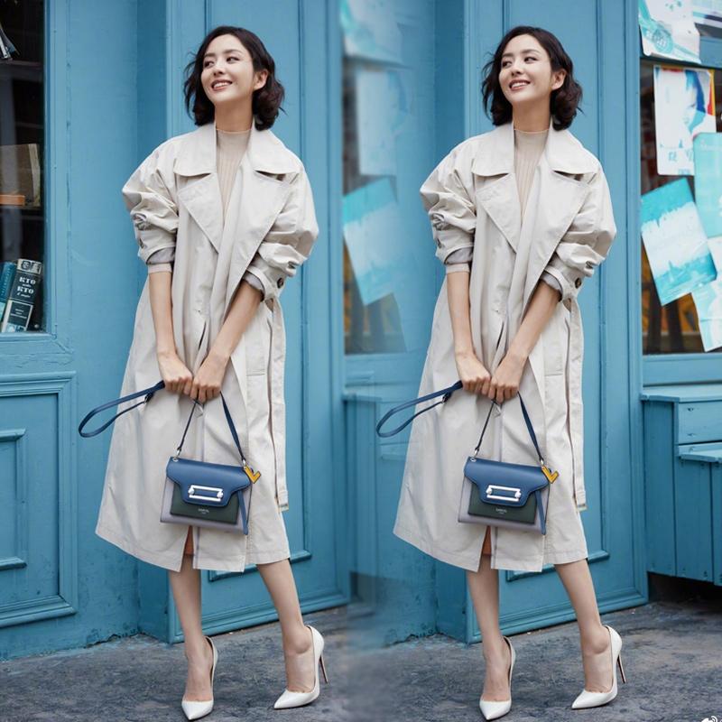 佟丽娅同款2020新款风衣外套宽松百搭长款收腰系带淑女简约风-默默家服饰-