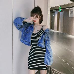 FS88581# 条纹吊带裙+牛仔外套两件套 服装批发女装直播货源
