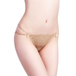 3条装性感情趣三角底裤绑带透明低腰性感女内裤蕾丝大码透明