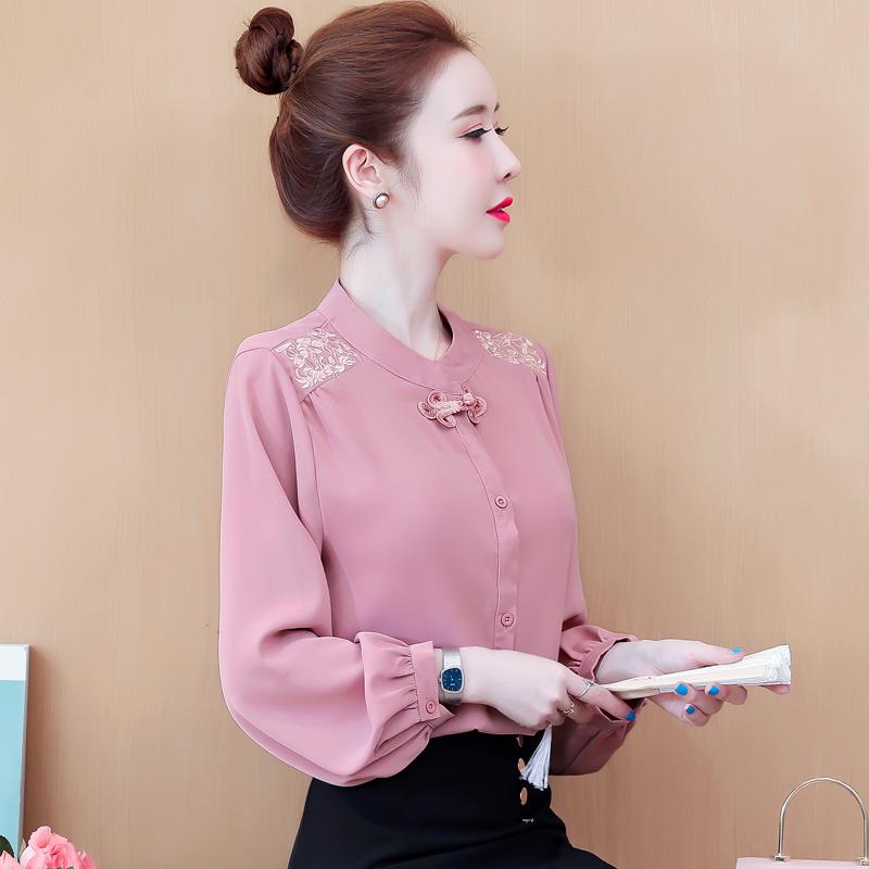现货实拍2020秋季新款中国风盘扣雪纺衫衬衫灯笼袖蕾丝气质上衣女-棉爆爆-