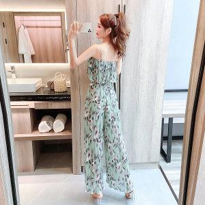 FS87702# 夏季新款女装时尚吊带褶皱上衣碎花松紧长裤两件套装 服装批发女装直播货源