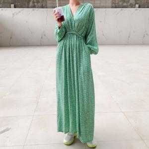 FS89608#  chic 气质v领大裙摆宽松显瘦长款连衣裙