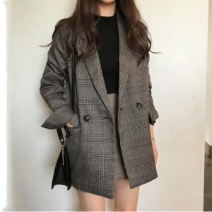 YF75056# 韩系品质双排两粒扣西装外套2色 服装批发女装直播货源