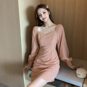 FS87962# 秋季新品女装清新长袖格子连衣裙 服装批发女装货源