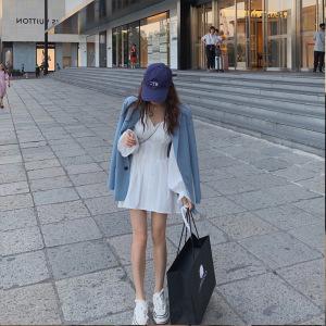 FS87851# 法式桔梗初恋泫雅风ins超仙女森系白色连衣裙子女春秋新款夏 服装批发女装货源