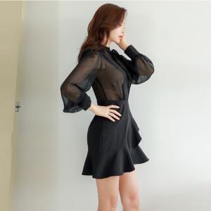 FS88186# 新款韩版修身雪纺拼接荷叶连衣裙 服装批发女装货源