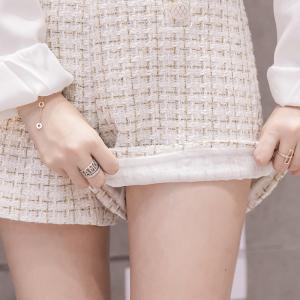 FS88153# 秋冬款粗纺毛呢子格子两排扣高腰短裤阔腿裤女 服装批发女装货源