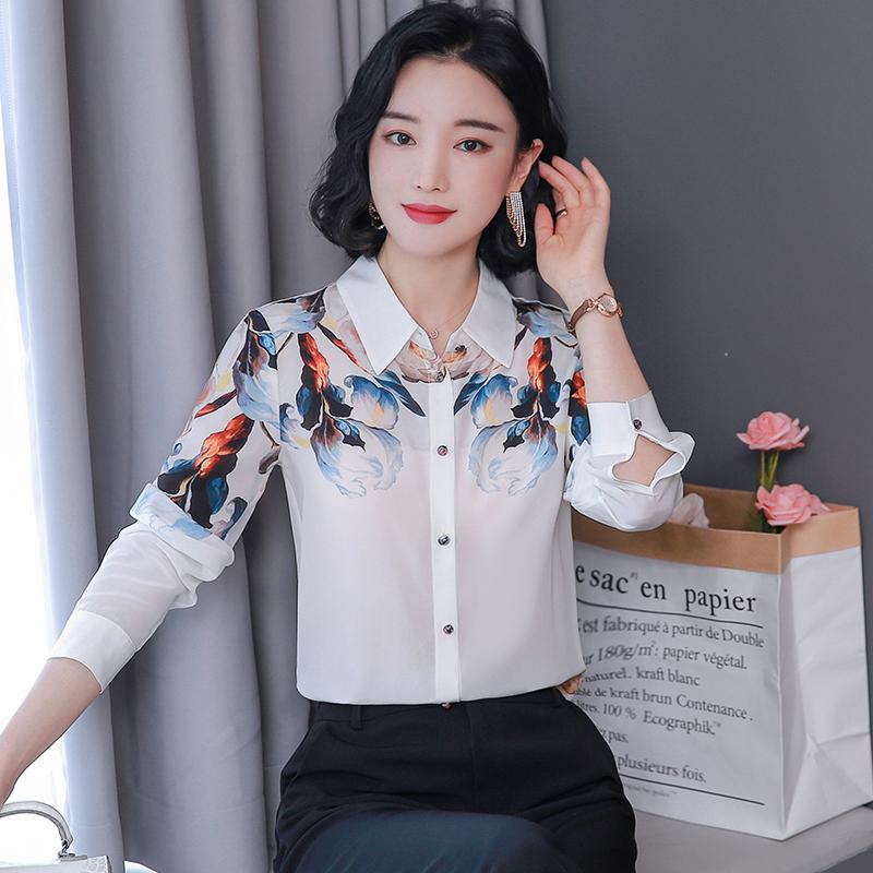 实拍2020秋装新款白色衬衫女士长袖气质洋气复古印花桑蚕丝上衣-韩芯儿服饰-