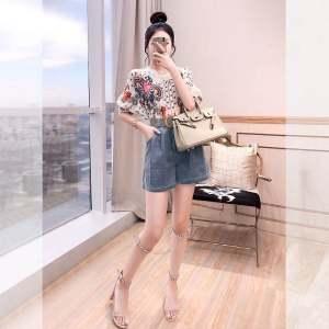 FS87877# 夏天女装套装时尚裤装新款夏季印花雪纺衫牛仔裤套装女两件套 服装批发女装货源