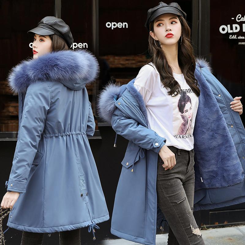 实拍2020冬新款潮羽绒棉服女中长款大毛领刺绣派克服加厚棉衣外套-千姿秀羽绒服-